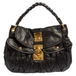 Miu Miu Black Matelasse Lux Leather Coffer Hobo