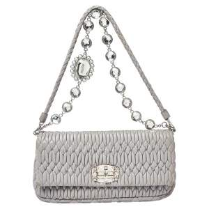 Miu Miu Grey Matelassé Leather Crystal Flap Shoulder Bag
