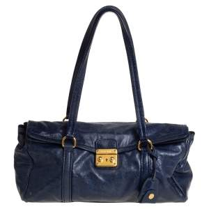 Miu Miu Navy Blue Glazed Leather Flap Push Lock Satchel