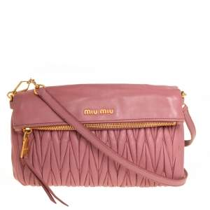 Miu Miu Pale Pink Matelasse Leather Fold Over Clutch Bag