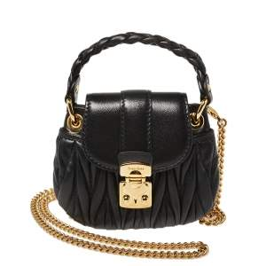 Miu Miu Black Leather Matelassé Leather Mini Crossbody Bag
