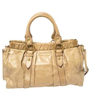 Miu Miu Beige Vitello Leather Gathered Tote