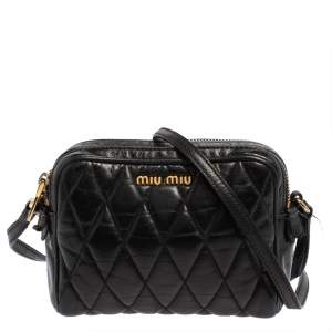 Miu Miu Black Vitello Shine Quilted Leather Crossbody Camera Bag