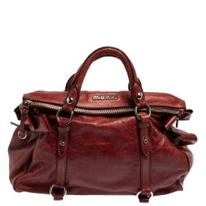 Miu Miu Burgundy Vitello Lux Leather Bow Satchel