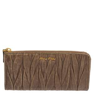 Miu Miu Dark Beige Matelasse Leather Zip Around Continental Wallet