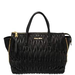Miu Miu Black Matelassé Leather Side Zip Tote