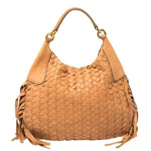 Miu Miu Brown Woven Leather Fringe Hobo