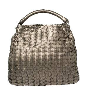 Miu Miu Metallic Grey Woven Leather Hobo