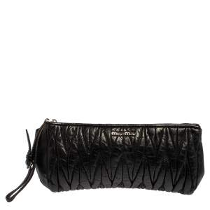 Miu Miu Black Matelasse Leather Clutch