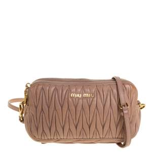Miu Miu Beige Matelasse Leather Double Zip Crossbody Bag