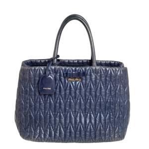 Miu Miu Blue Matelasse Leather Tote