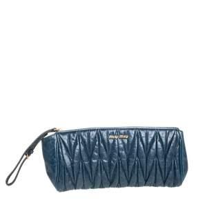 Miu Miu Blue Matelasse Leather Wristlet Clutch