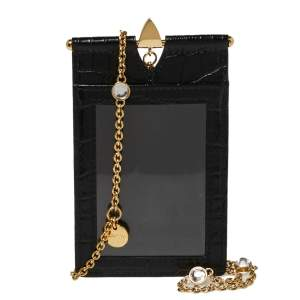 Miu Miu Black Croc Embossed Chain Leather Badge Holder