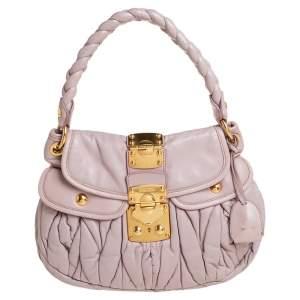 Miu Miu Pale Pink Matelassé Leather Small Coffer Hobo