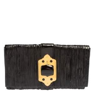 Miu Miu Black Pleated Patent Leather Clutch