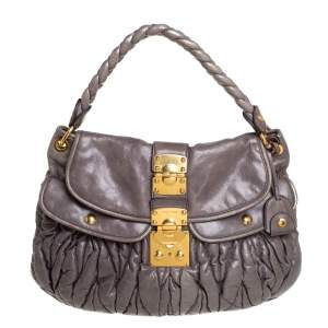 Miu Miu Dark Grey Matelasse Leather Coffer Hobo