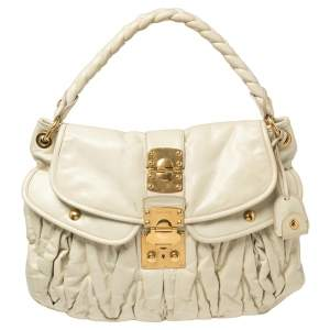 Miu Miu Off White Matelassé Leather Coffer Hobo