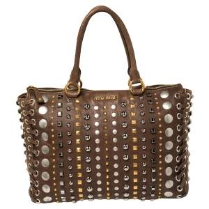 Miu Miu Brown Leather Studded Embellished Monk Tote