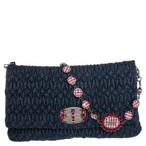 Miu Miu Blue Matelassé Denim and Leather Crystal Shoulder Bag