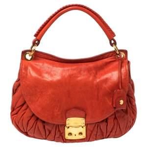 Miu Miu Red Matelasse Leather Front Flap Hobo