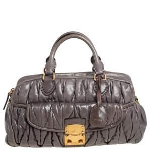 Miu Miu Grey Matelassé Quilted Leather Satchel