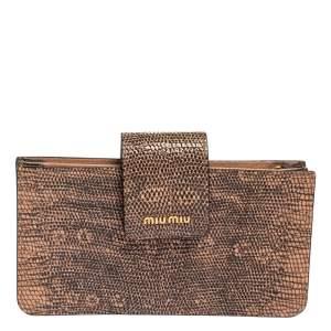 Miu Miu Pink/Black Lizard Embossed Leather Crossbody Bag