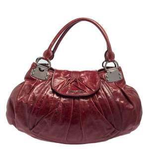 Miu Miu Burgundy Vitello Lux Leather Gathered Hobo