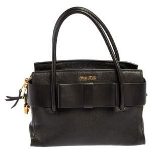 Miu Miu Black Leather Fiocco Bow Tote