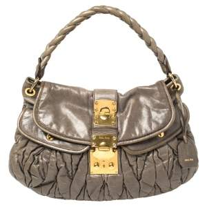 Miu Miu Grey Matelassé Leather Coffer Hobo