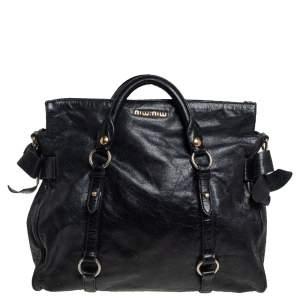 Miu Miu Black Vitello Lux Leather Bow Satchel