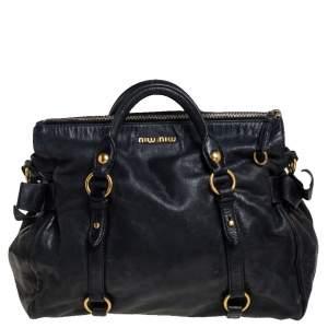 Miu Miu Black Vitello Lux Leather Large Bow Satchel