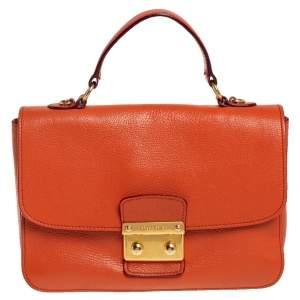 Miu Miu Orange Madras Leather Push Lock Flap Top Handle Bag