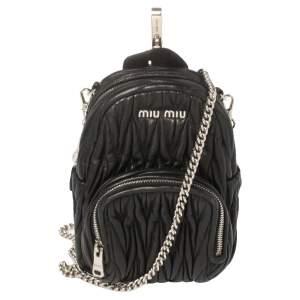 حقيبة ظهر ميو ميو ميني جلد ماتيلاس أسود