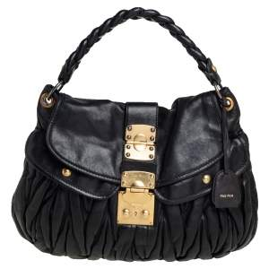 Miu Miu Black Matelassé Lux Leather Coffer Hobo