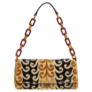 Miu Miu Mustard/Green Velvet and Canvas Flap Tortoise Handle Bag