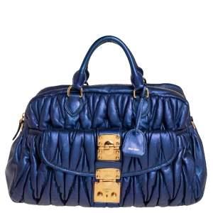 MIU MIU Blue Matelassé Quilted Leather Satchel