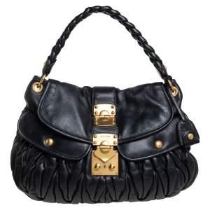 Miu Miu Black Matelassé Leather Coffer Hobo