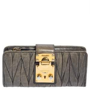 Miu Miu Grey Matelasse Leather Clasp Lock Wallet