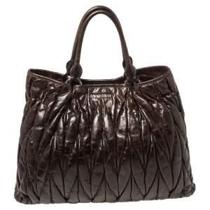 Miu Miu Dark Brown Matelassé Leather Snap Tote