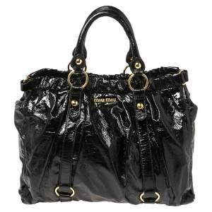 Miu Miu Black Patent Leather Gathered Tote