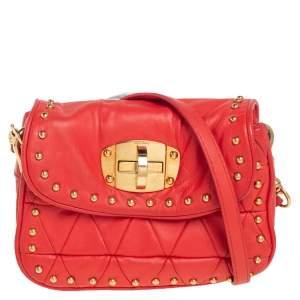 Miu Miu Orange Leather Studded Crossbody Bag