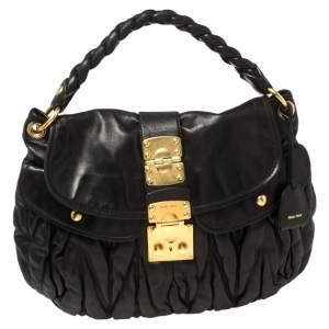 Miu Miu Black Matelasse Leather Coffer Hobo