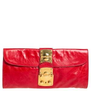 Miu Miu Ruby Leather Push Lock Clutch