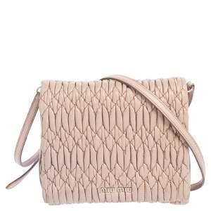 Miu Miu Beige Matelassé Leather Flap Crossbody Bag