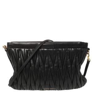 Miu Miu Black Matelassé Leather Crossbody Bag