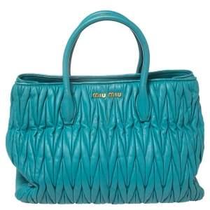 Miu Miu Aqua Blue Matelassé Leather Snap Tote