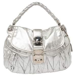 Miu Miu Silver Matelassé Lux Leather Coffer Hobo