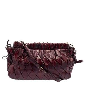 Miu Miu Burgundy Diamond Quilt Leather Shoulder Bag