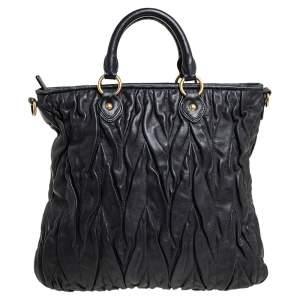 Miu Miu Black Gathered Leather Tote
