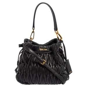 Miu Miu Black Matelassé Leather Drawstring Bucket Bag